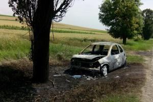 Masina arsa intre Crangu si Furculesti.